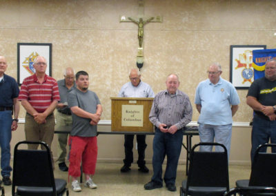 Assembly 1223 officers for the 2018-19 Fraternal Year were installed in June. Pictured here are (L to R) Faithful Purser Jim Storey, Faithful Captain Darrell Schroeder, Chip Halverson, Inside Sentinel Matt Thompson, Past District Master Doug Gasseling, Faithful Navigator Mike Carlin, One Year Trustee Gene Jonart, and Color Guard Captain Vin Vogel.