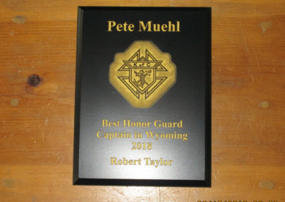 """Retiring Honor Guard Captain William """"Pete"""" Muehl was honored in June by Assembly 1223 Faithful Navigator Mike Carlin. District Master Robert Taylor described Pete as """"The Best Honor Guard Captain in Wyoming."""""""