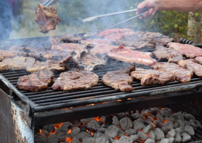 Close up of the campout steaks.